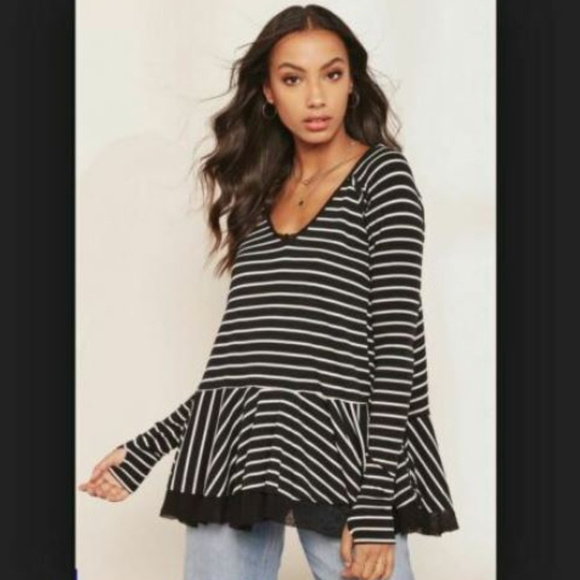 Free People Tops - NEW! We the Free 'Tangerine' Striped Top (L)